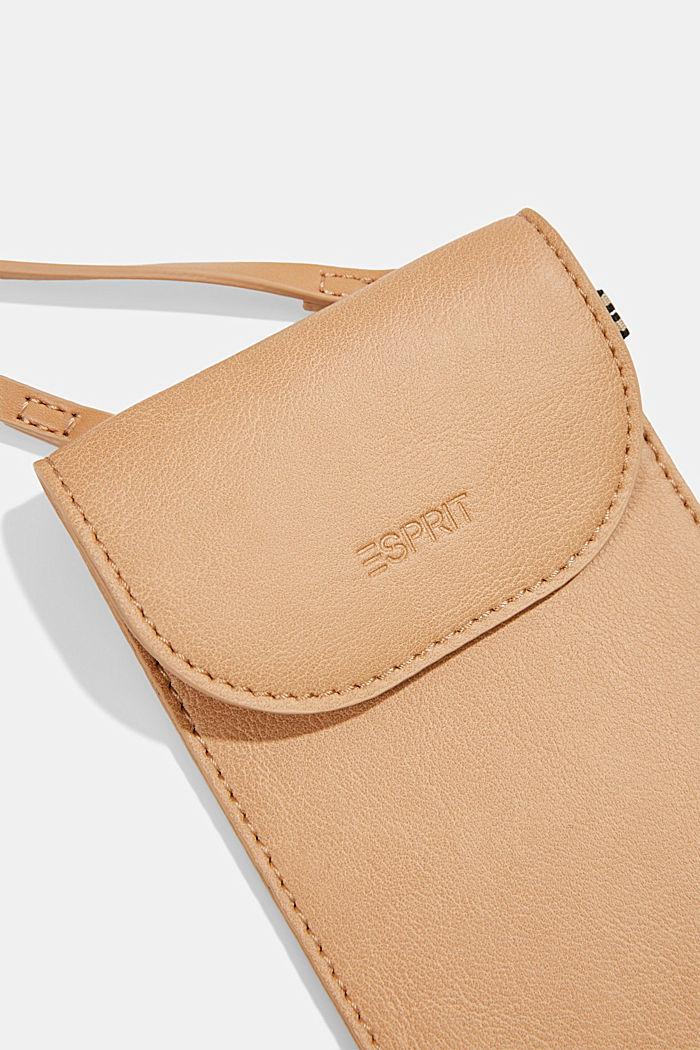 Vegan: faux leather phone bag, CAMEL, detail image number 1