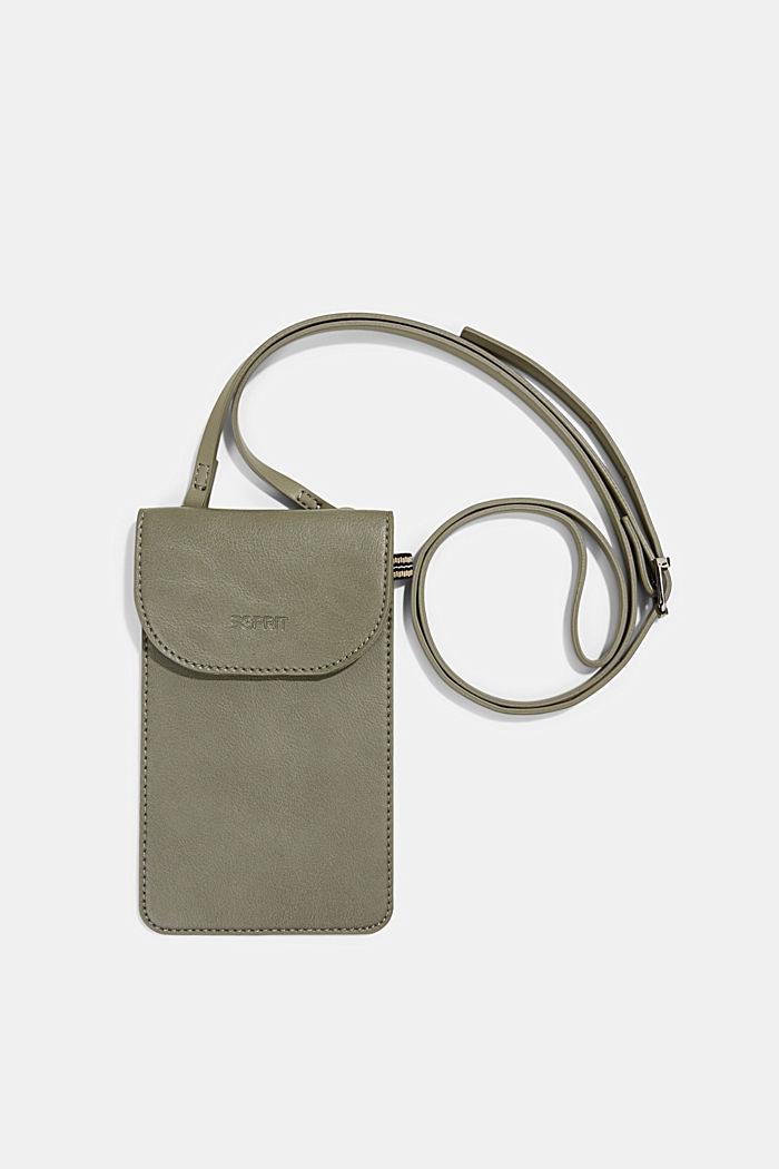 Vegan: Smartphone-Tasche in Lederoptik, OLIVE, detail image number 0