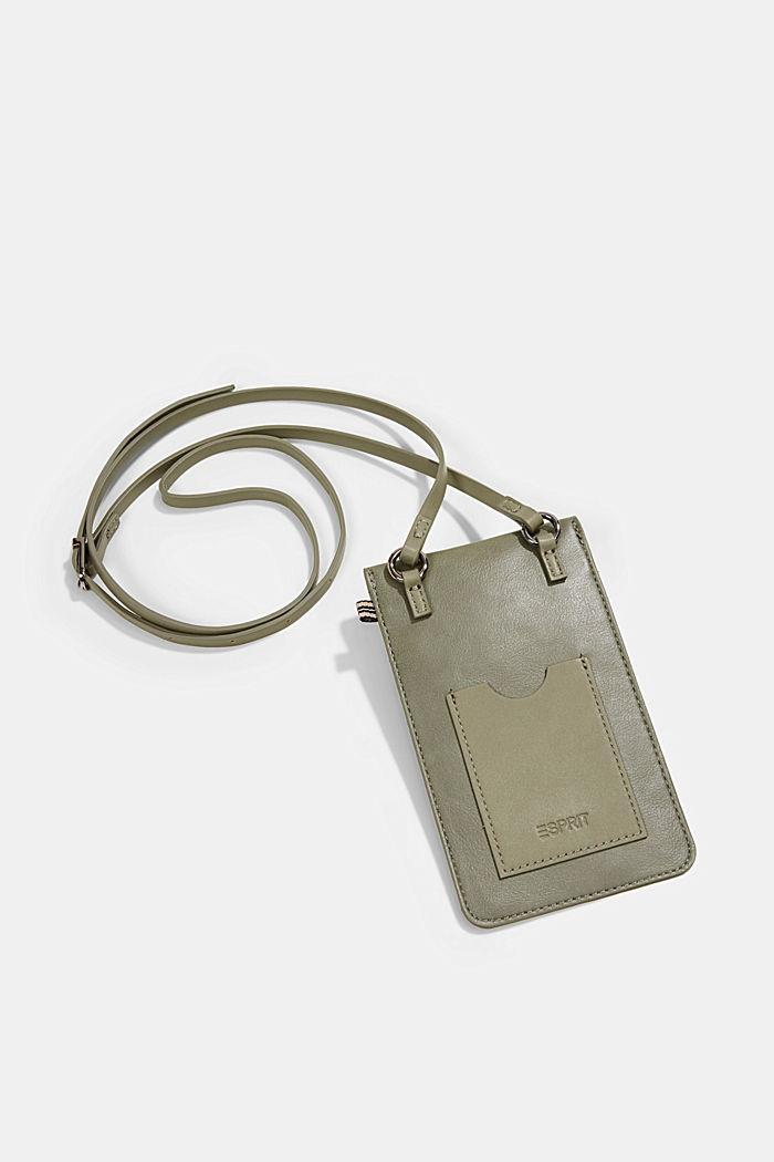 Vegan: Smartphone-Tasche in Lederoptik, OLIVE, detail image number 2
