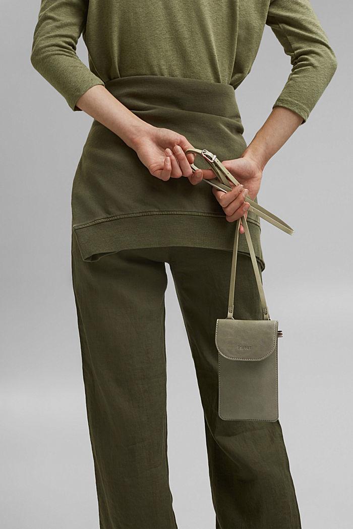 Vegan: Smartphone-Tasche in Lederoptik, OLIVE, detail image number 5