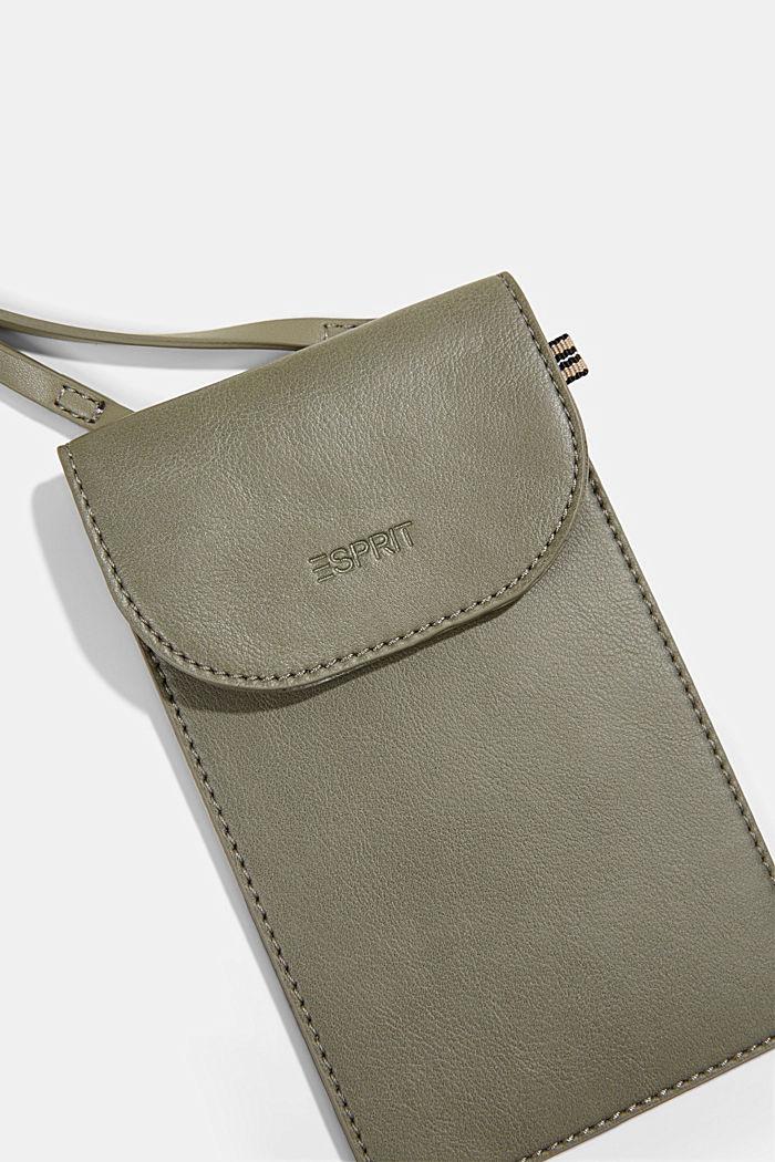 Vegan: Smartphone-Tasche in Lederoptik, OLIVE, detail image number 1