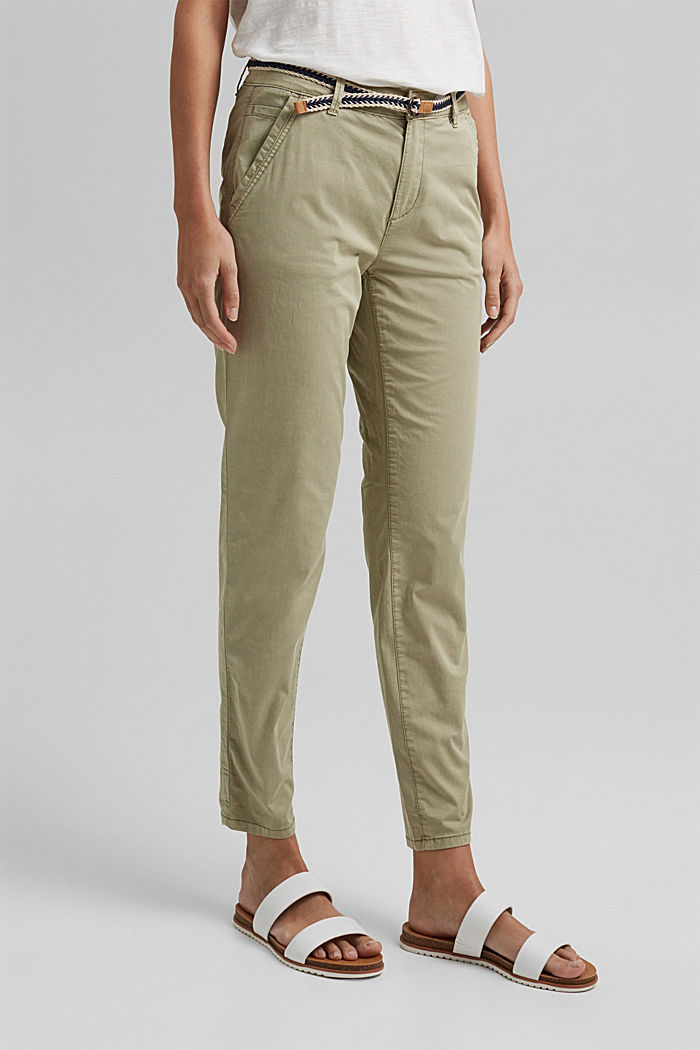 Chinos with innovative stretch fibres, PALE KHAKI, detail image number 0