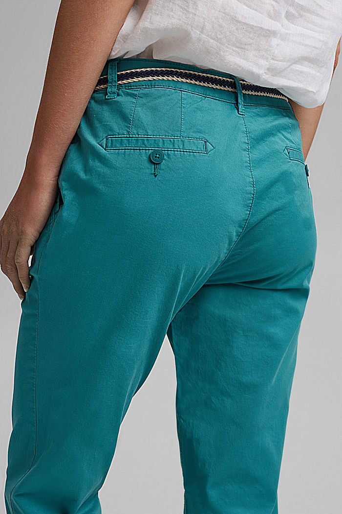 Chino met innovatieve stretchvezels, TEAL GREEN, detail image number 5