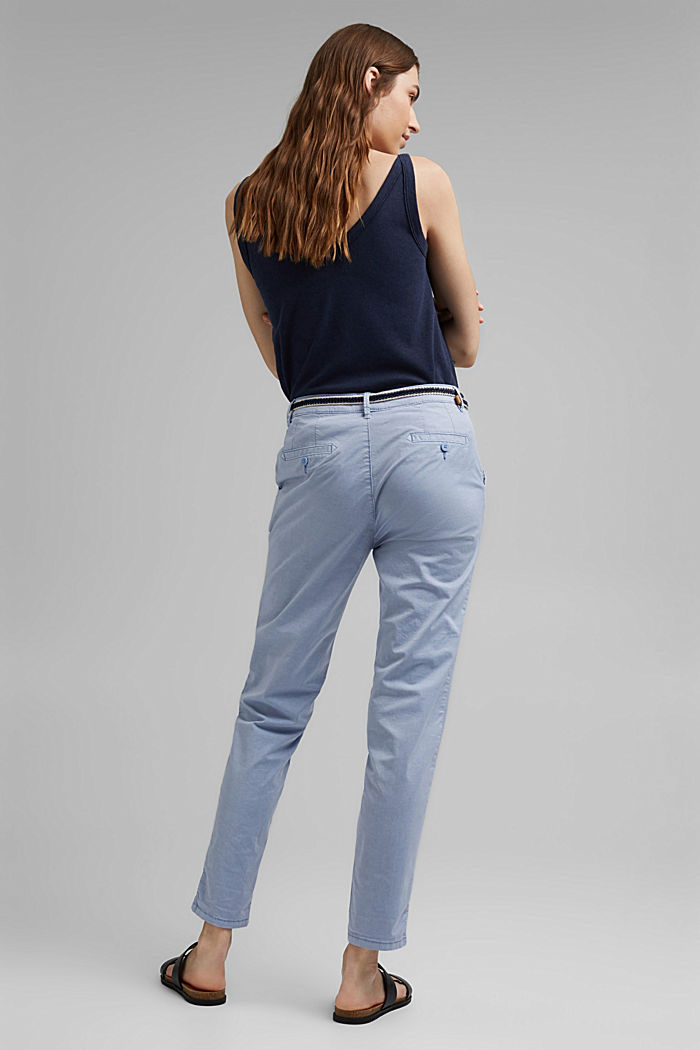 Chinos with innovative stretch fibres, PASTEL BLUE, detail image number 3