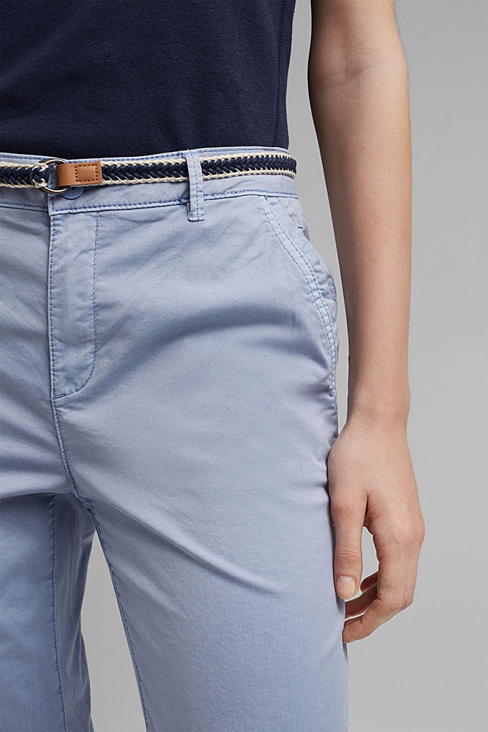 Chinos with innovative stretch fibres, PASTEL BLUE, detail image number 2
