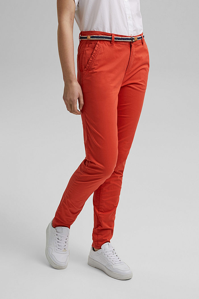 Chinos with innovative stretch fibres, ORANGE RED, detail image number 0