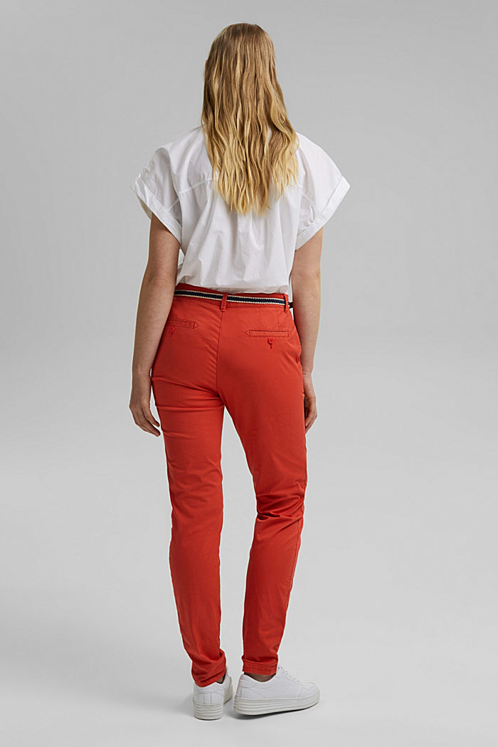 Chinos with innovative stretch fibres, ORANGE RED, detail image number 3