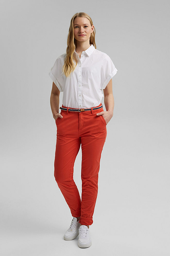 Chinos with innovative stretch fibres, ORANGE RED, detail image number 1