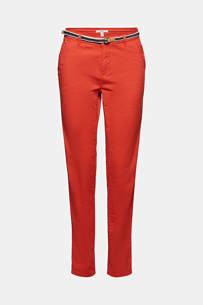 Chinos with innovative stretch fibres, ORANGE RED, detail image number 6