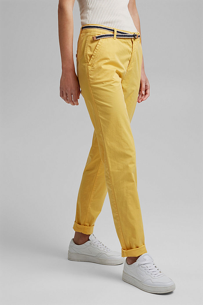 Chinos with innovative stretch fibres, SUNFLOWER YELLOW, detail image number 0