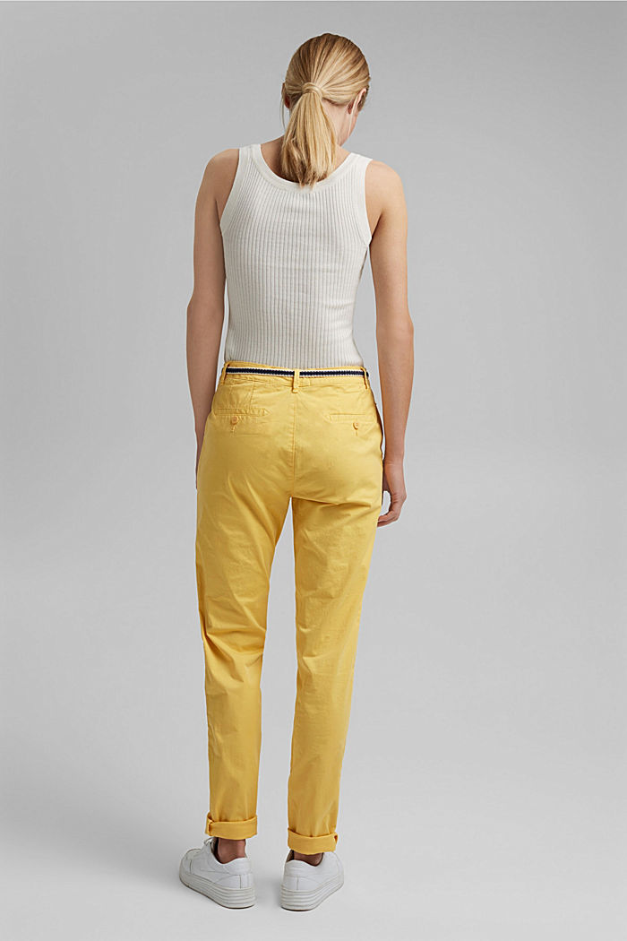 Chinos with innovative stretch fibres, SUNFLOWER YELLOW, detail image number 3