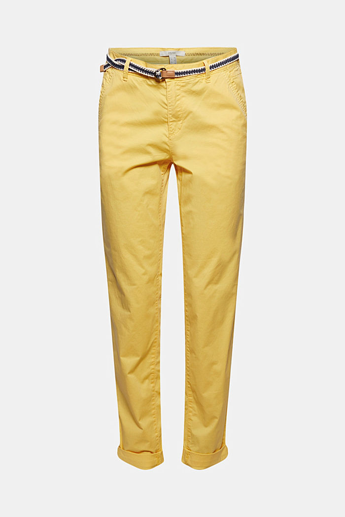 Chinos with innovative stretch fibres, SUNFLOWER YELLOW, detail image number 6