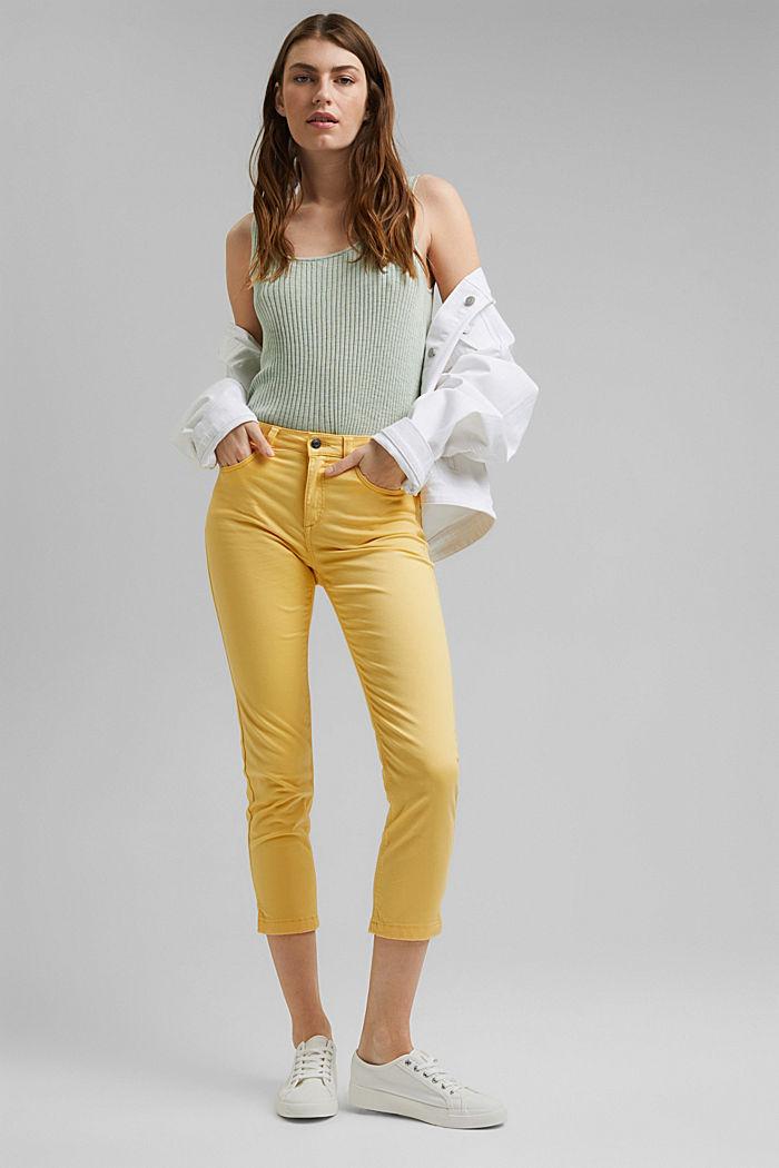 Pantaloni capri super stretch, SUNFLOWER YELLOW, detail image number 1