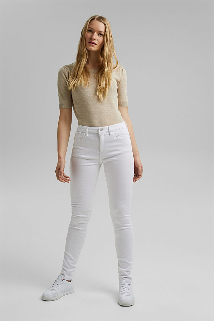 Stretch jeans made of organic cotton, WHITE, detail image number 1