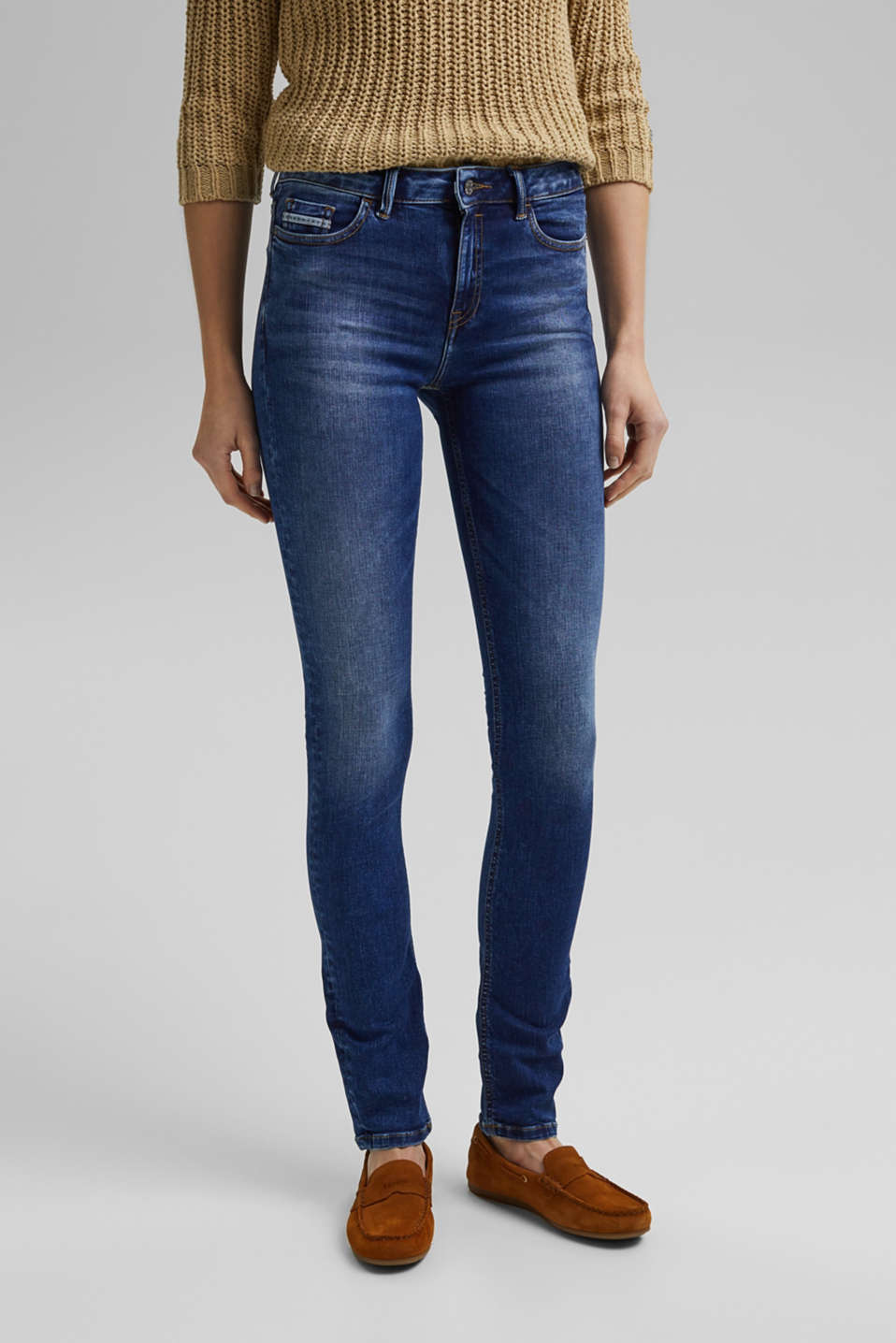 Esprit - Stretchjeans met washed-out effecten