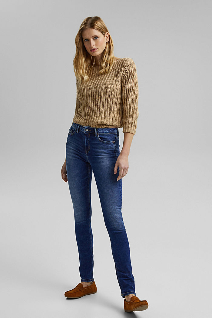 Stretch jeans with washed-out effects, BLUE DARK WASHED, detail image number 1