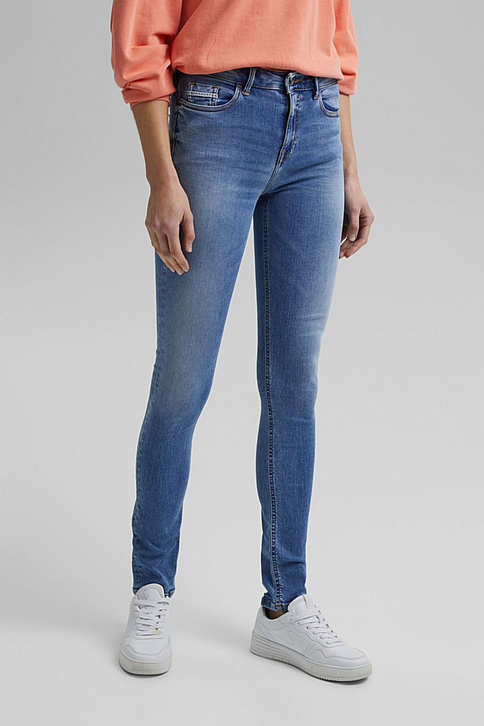 Stretch jeans with washed-out effects, BLUE LIGHT WASHED, detail image number 0