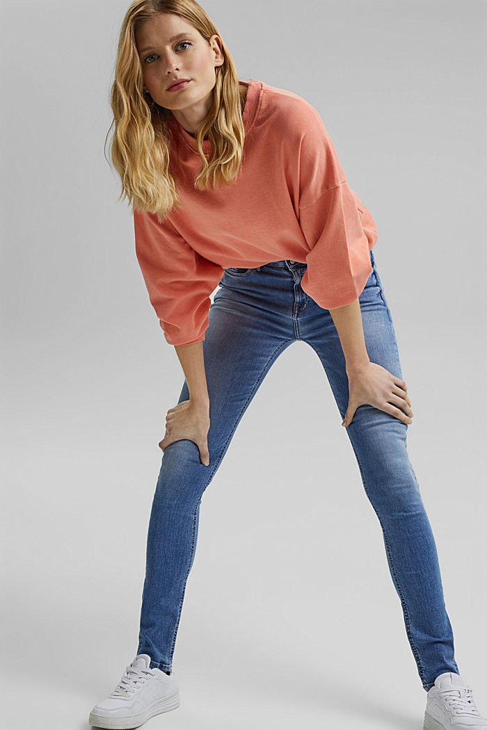 Stretch jeans with washed-out effects, BLUE LIGHT WASHED, detail image number 6