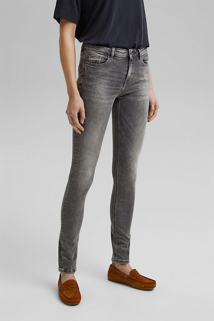 Stretch jeans with washed-out effects, GREY MEDIUM WASHED, detail image number 0