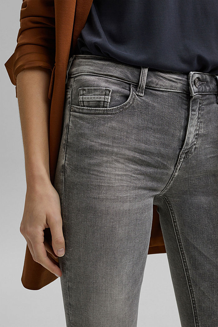 Stretch-Jeans mit Washed-Out-Effekten, GREY MEDIUM WASHED, detail image number 2