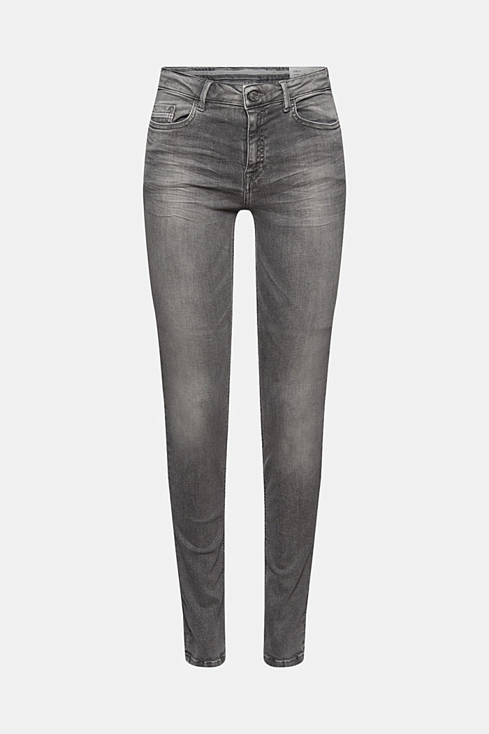 Stretch jeans with washed-out effects, GREY MEDIUM WASHED, overview