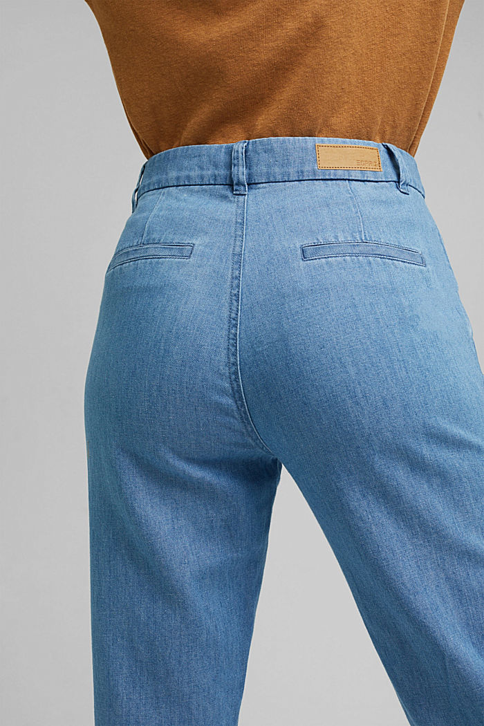 Con lino: jeans chino in misto cotone, BLUE MEDIUM WASHED, detail image number 5