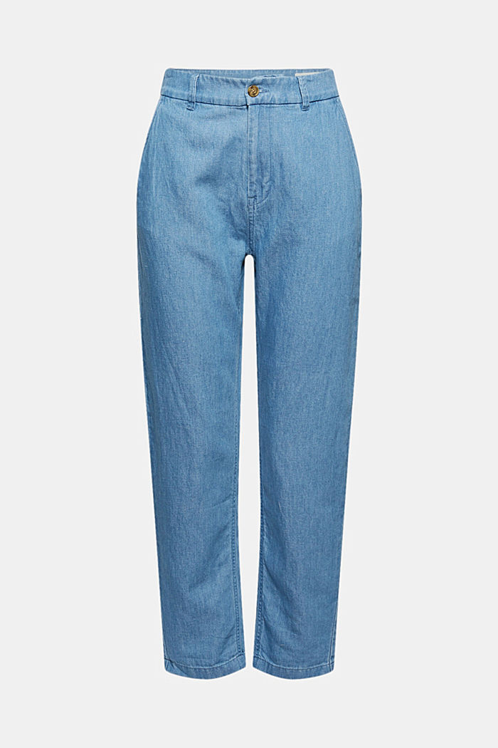 Con lino: jeans chino in misto cotone, BLUE MEDIUM WASHED, detail image number 6