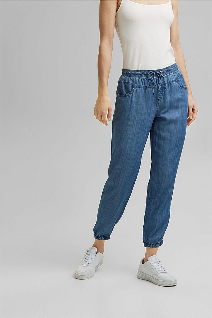 Aus TENCEL™: Jogg-Hose im Jeans-Look, BLUE MEDIUM WASHED, detail image number 0