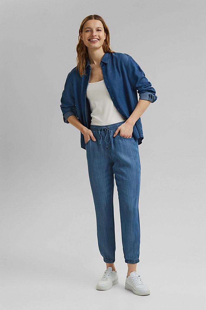Aus TENCEL™: Jogg-Hose im Jeans-Look, BLUE MEDIUM WASHED, detail image number 1