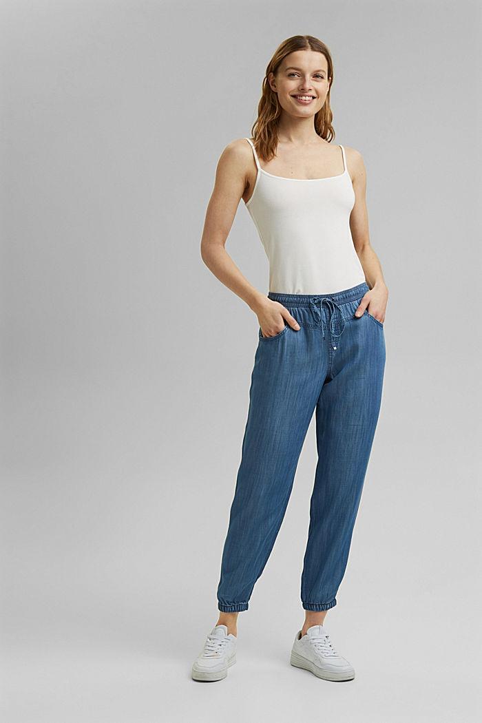 Aus TENCEL™: Jogg-Hose im Jeans-Look, BLUE MEDIUM WASHED, detail image number 8