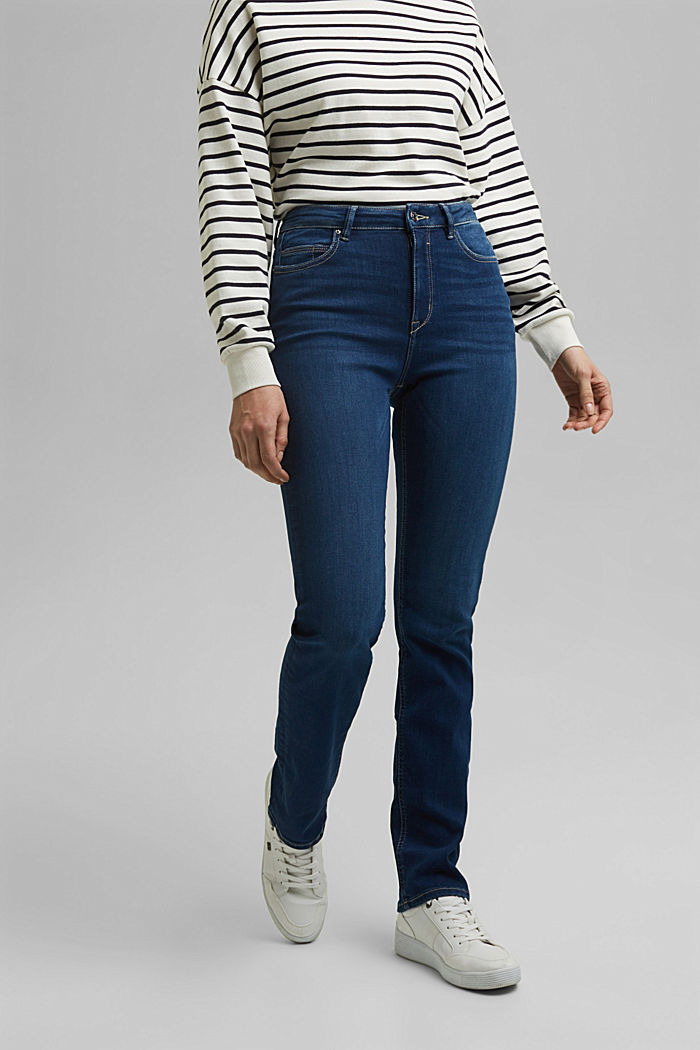 Stretch jeans containing organic cotton, BLUE DARK WASHED, detail image number 0