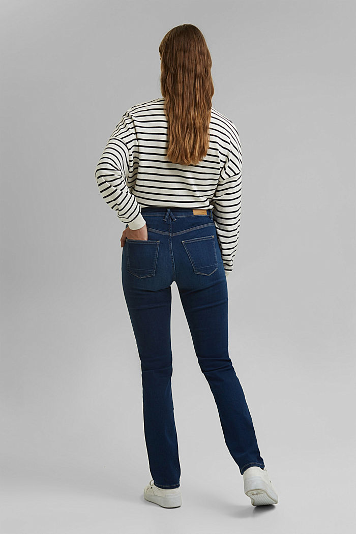 Stretch jeans containing organic cotton, BLUE DARK WASHED, detail image number 3