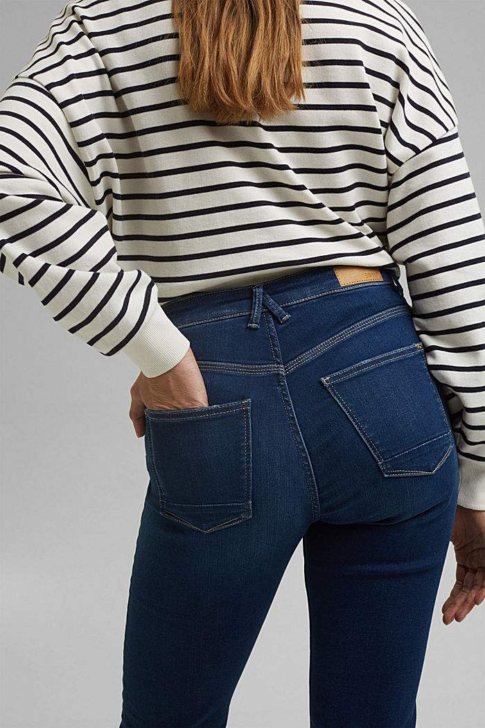 Stretch jeans containing organic cotton, BLUE DARK WASHED, detail image number 5