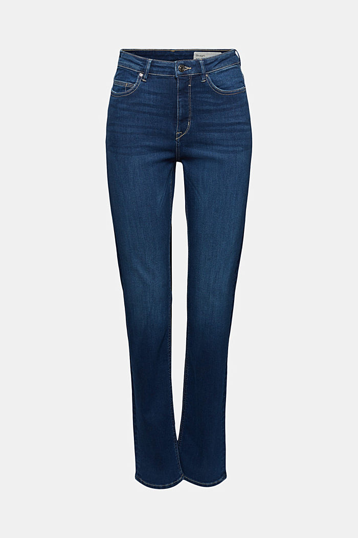 Stretch jeans containing organic cotton, BLUE DARK WASHED, detail image number 7