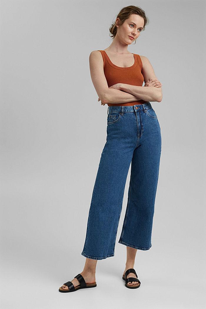 Wide leg cropped jeans, BLUE MEDIUM WASHED, detail image number 1