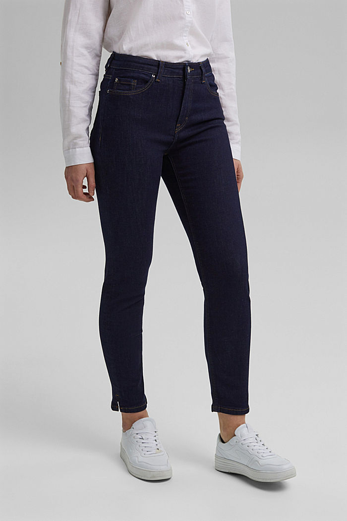 Stretch jeans with slits, organic cotton, BLUE RINSE, detail image number 0
