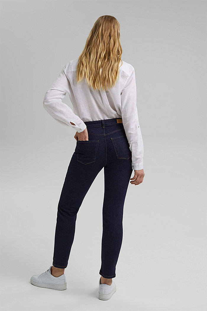 Stretch jeans with slits, organic cotton, BLUE RINSE, detail image number 3
