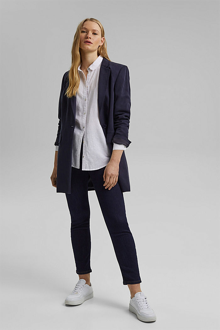 Stretch jeans with slits, organic cotton, BLUE RINSE, detail image number 1