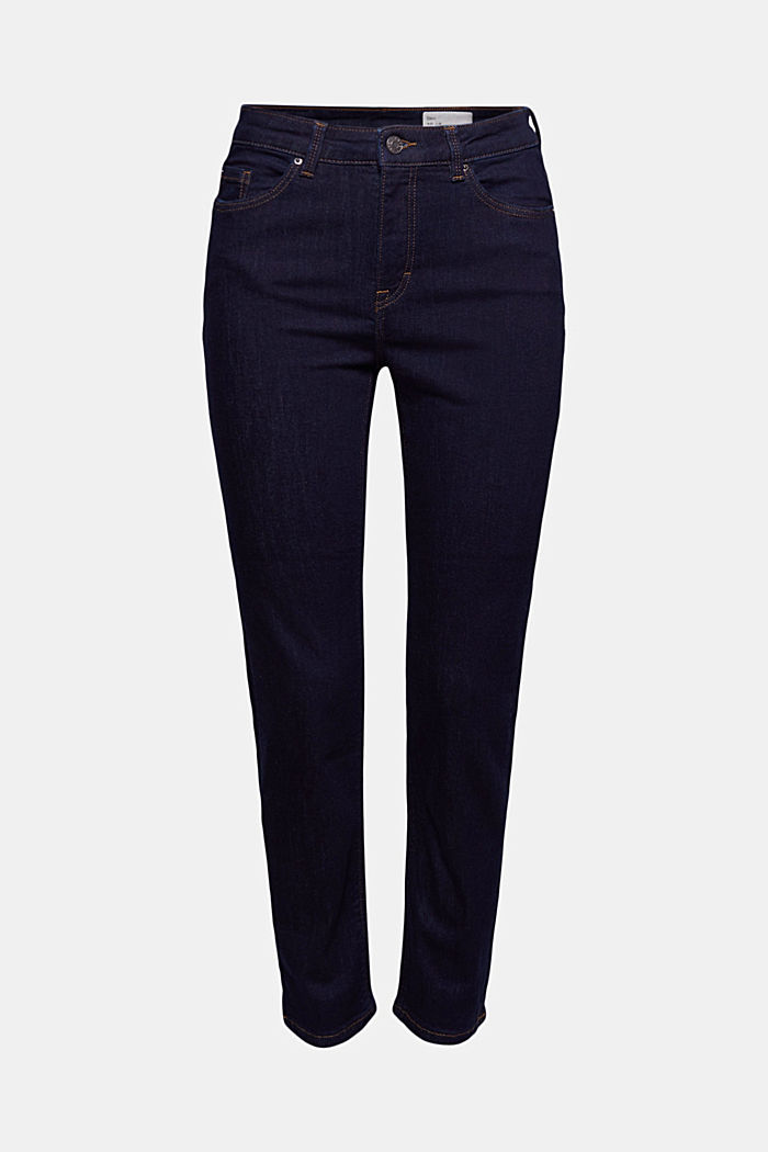 Stretch jeans with slits, organic cotton, BLUE RINSE, detail image number 7