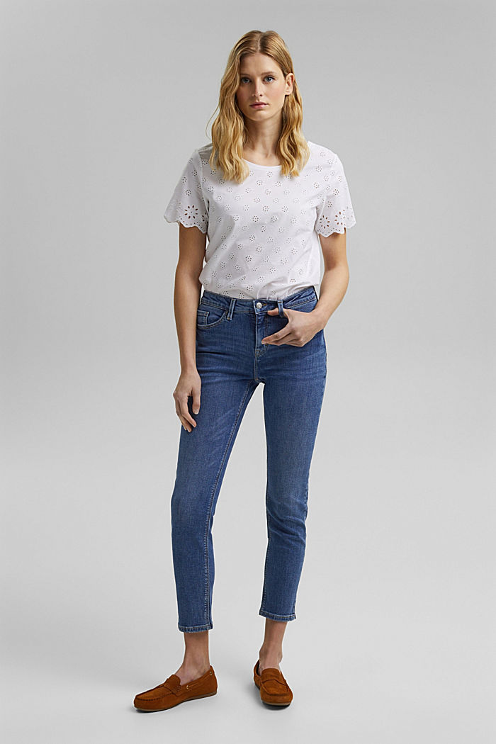Stretch jeans with slits, organic cotton, BLUE MEDIUM WASHED, detail image number 1