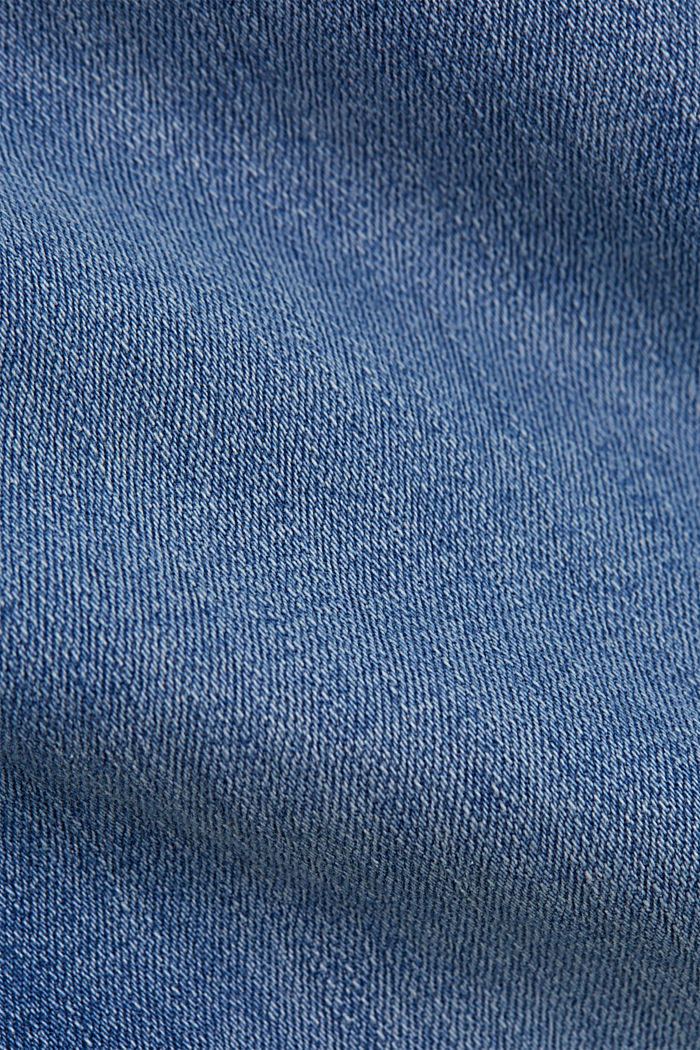 Stretch-Jeans mit Schlitzen, Organic Cotton, BLUE LIGHT WASHED, detail image number 4