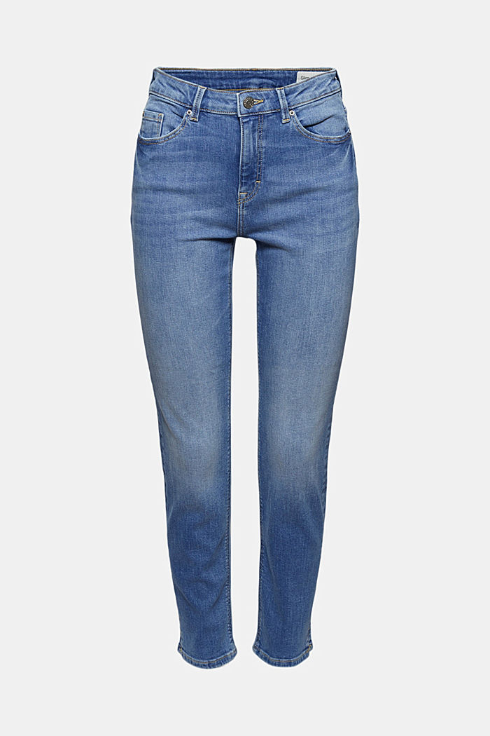 Stretch-Jeans mit Schlitzen, Organic Cotton