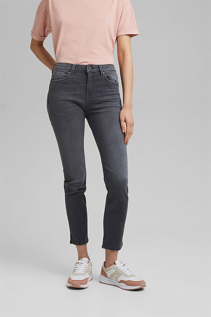 Ankle-length jeans made of blended organic cotton, GREY MEDIUM WASHED, detail image number 0