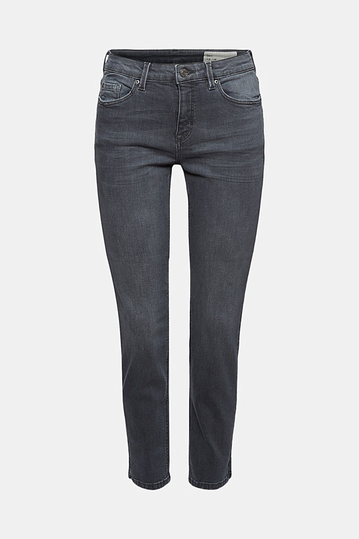Ankle-length jeans made of blended organic cotton, GREY MEDIUM WASHED, detail image number 6