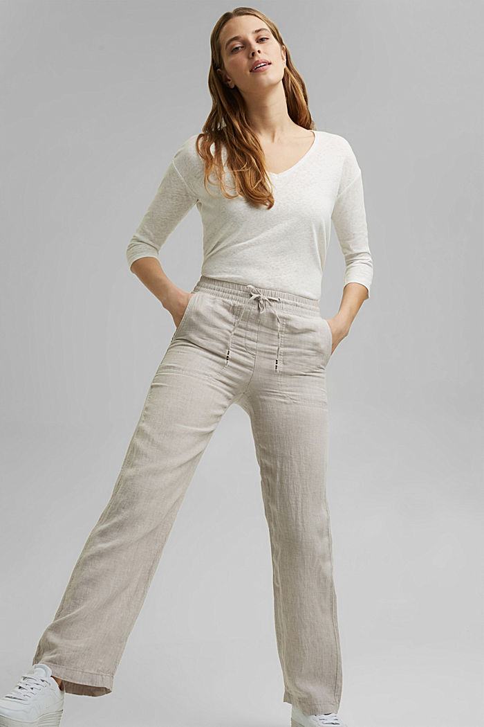 Made of linen: straight-leg tracksuit bottoms