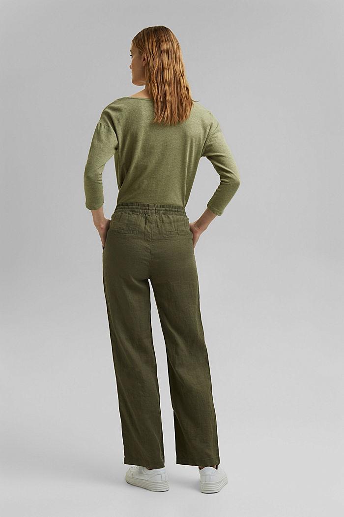 Aus Leinen: Jogger-Hose mit geradem Bein, KHAKI GREEN, detail image number 3