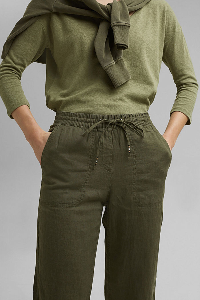 Made of linen: straight-leg tracksuit bottoms, KHAKI GREEN, detail image number 2