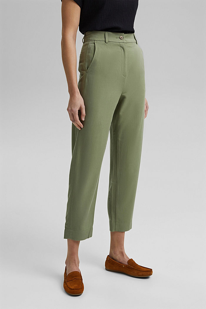 TENCEL™: flowy chinos made of blended viscose, LIGHT KHAKI, detail image number 0