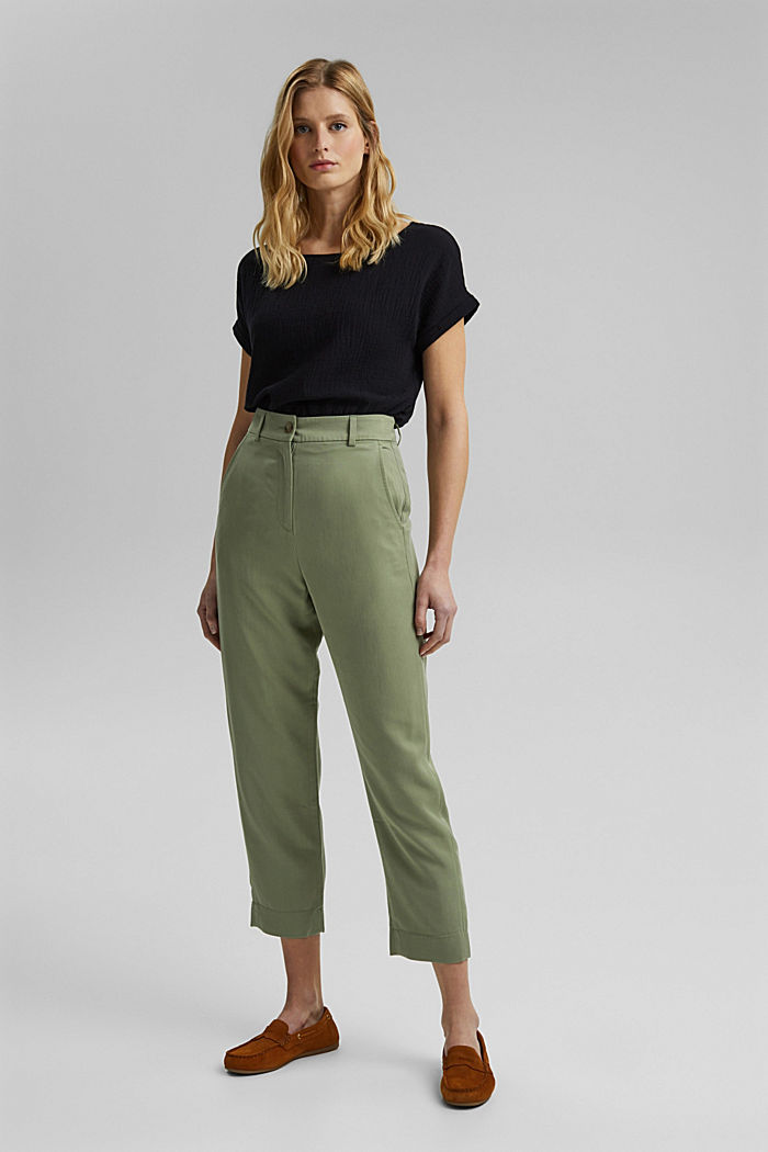 TENCEL™: flowy chinos made of blended viscose, LIGHT KHAKI, detail image number 1