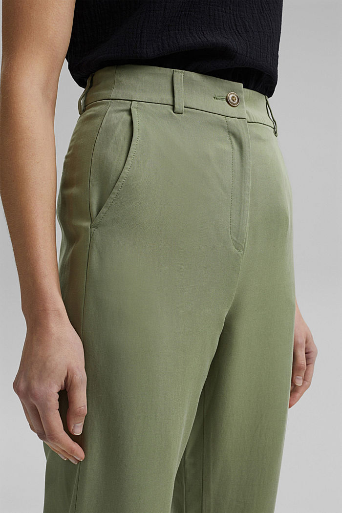 TENCEL™: flowy chinos made of blended viscose, LIGHT KHAKI, detail image number 2